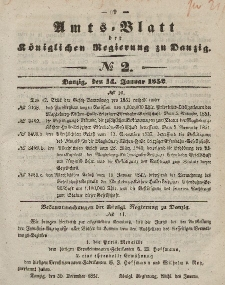 Amts-Blatt der Königlichen Regierung zu Danzig, 14. Januar 1852, Nr. 2