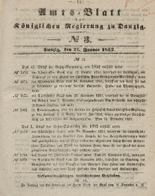 Amts-Blatt der Königlichen Regierung zu Danzig, 21. Januar 1852, Nr. 3