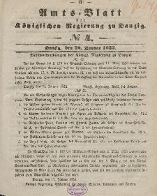 Amts-Blatt der Königlichen Regierung zu Danzig, 28. Januar 1852, Nr. 4