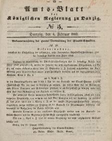 Amts-Blatt der Königlichen Regierung zu Danzig, 4. Februar 1852, Nr. 5