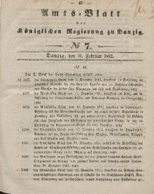 Amts-Blatt der Königlichen Regierung zu Danzig, 18. Februar 1852, Nr. 7