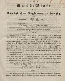 Amts-Blatt der Königlichen Regierung zu Danzig, 25. Februar 1852, Nr. 8