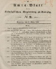Amts-Blatt der Königlichen Regierung zu Danzig, 3. März 1852, Nr. 9