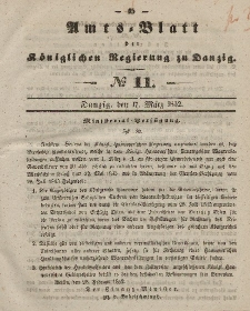 Amts-Blatt der Königlichen Regierung zu Danzig, 17. März 1852, Nr. 11