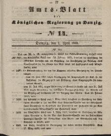 Amts-Blatt der Königlichen Regierung zu Danzig, 7. April 1852, Nr. 14