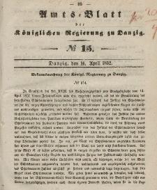 Amts-Blatt der Königlichen Regierung zu Danzig, 14. April 1852, Nr. 15