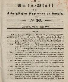 Amts-Blatt der Königlichen Regierung zu Danzig, 21. April 1852, Nr. 16