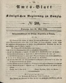 Amts-Blatt der Königlichen Regierung zu Danzig, 19. Mai 1852, Nr. 20