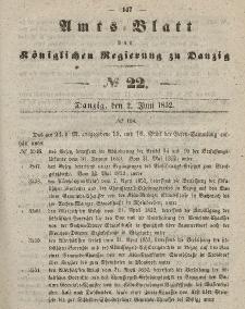 Amts-Blatt der Königlichen Regierung zu Danzig, 2. Juni 1852, Nr. 22