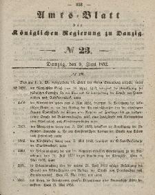 Amts-Blatt der Königlichen Regierung zu Danzig, 9. Juni 1852, Nr. 23