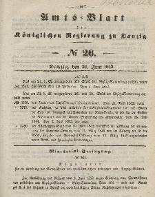Amts-Blatt der Königlichen Regierung zu Danzig, 30. Juni 1852, Nr. 26