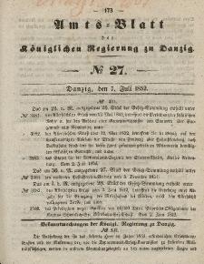Amts-Blatt der Königlichen Regierung zu Danzig, 7. Juli 1852, Nr. 27
