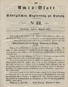 Amts-Blatt der Königlichen Regierung zu Danzig, 5. August 1852, Nr. 31