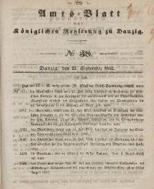 Amts-Blatt der Königlichen Regierung zu Danzig, 22. September 1852, Nr. 38