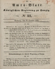 Amts-Blatt der Königlichen Regierung zu Danzig, 13. Oktober 1852, Nr. 41
