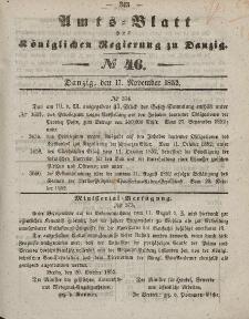 Amts-Blatt der Königlichen Regierung zu Danzig, 17. November 1852, Nr. 46
