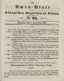 Amts-Blatt der Königlichen Regierung zu Danzig, 1. Dezember 1852, Nr. 48