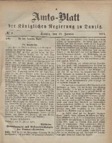 Amts-Blatt der Königlichen Regierung zu Danzig, 18. Januar 1871, Nr. 3