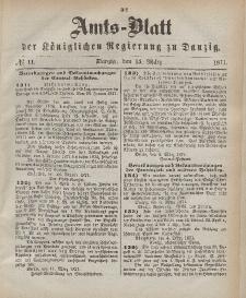 Amts-Blatt der Königlichen Regierung zu Danzig, 15. März 1871, Nr. 11
