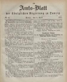 Amts-Blatt der Königlichen Regierung zu Danzig, 5. April 1871, Nr. 14
