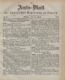 Amts-Blatt der Königlichen Regierung zu Danzig, 26. April 1871, Nr. 17