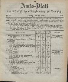 Amts-Blatt der Königlichen Regierung zu Danzig, 17. Mai 1871, Nr. 20