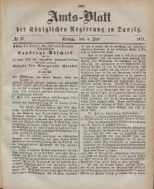 Amts-Blatt der Königlichen Regierung zu Danzig, 5. Juli 1871, Nr. 27