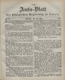 Amts-Blatt der Königlichen Regierung zu Danzig, 26. Juli 1871, Nr. 30
