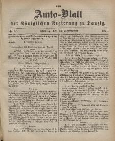 Amts-Blatt der Königlichen Regierung zu Danzig, 13. September 1871, Nr. 37