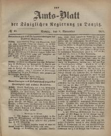 Amts-Blatt der Königlichen Regierung zu Danzig, 8. November 1871, Nr. 45