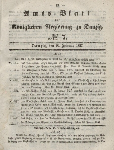 Amts-Blatt der Königlichen Regierung zu Danzig, 18. Februar 1857, Nr. 7