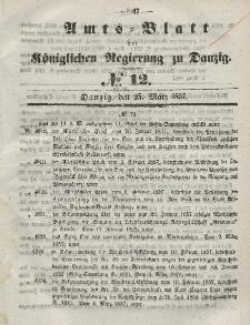 Amts-Blatt der Königlichen Regierung zu Danzig, 25. März 1857, Nr. 12