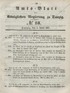 Amts-Blatt der Königlichen Regierung zu Danzig, 1. April 1857, Nr. 13