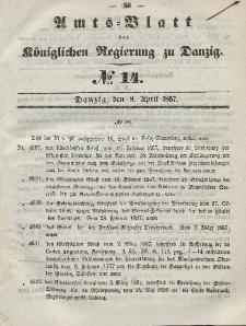 Amts-Blatt der Königlichen Regierung zu Danzig, 8. April 1857, Nr. 14