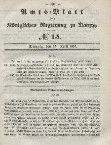 Amts-Blatt der Königlichen Regierung zu Danzig, 15. April 1857, Nr. 15