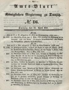 Amts-Blatt der Königlichen Regierung zu Danzig, 22. April 1857, Nr. 16