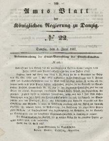 Amts-Blatt der Königlichen Regierung zu Danzig, 3. Juni 1857, Nr. 22