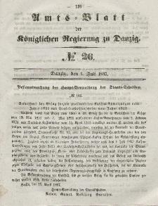 Amts-Blatt der Königlichen Regierung zu Danzig, 1. Juli 1857, Nr. 26