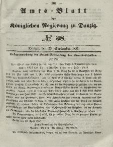 Amts-Blatt der Königlichen Regierung zu Danzig, 23. September 1857, Nr. 38