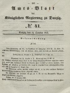 Amts-Blatt der Königlichen Regierung zu Danzig, 14. Oktober 1857, Nr. 41