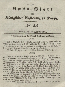 Amts-Blatt der Königlichen Regierung zu Danzig, 28. Oktober 1857, Nr. 43