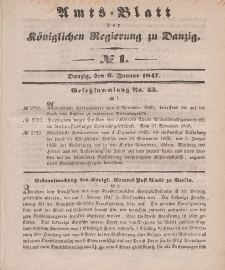 Amts-Blatt der Königlichen Regierung zu Danzig, 6. Januar 1847, Nr. 1
