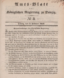 Amts-Blatt der Königlichen Regierung zu Danzig, 3. Februar 1847, Nr. 5