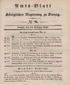 Amts-Blatt der Königlichen Regierung zu Danzig, 24. Februar 1847, Nr. 8