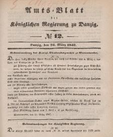 Amts-Blatt der Königlichen Regierung zu Danzig, 24. März 1847, Nr. 12