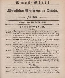 Amts-Blatt der Königlichen Regierung zu Danzig, 21. April 1847, Nr. 16