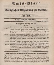 Amts-Blatt der Königlichen Regierung zu Danzig, 23. Juni 1847, Nr. 25