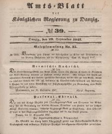 Amts-Blatt der Königlichen Regierung zu Danzig, 29. September 1847, Nr. 39