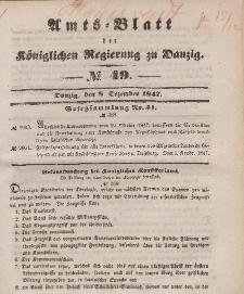 Amts-Blatt der Königlichen Regierung zu Danzig, 8. Dezember 1847, Nr. 49
