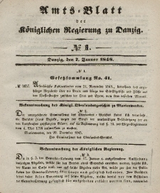 Amts-Blatt der Königlichen Regierung zu Danzig, 7. Januar 1846, Nr. 1